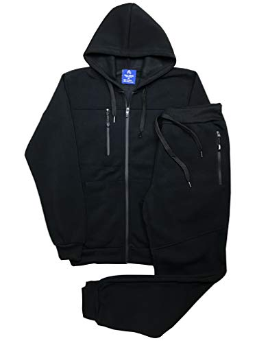 Royal Threads Canada Men's Warm Winter Tech Fleece Sweat Jacket Sweatpants Jogger Outfit (Black, XL)