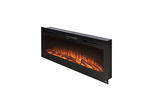 Touchstone 80004 - The Sideline Electric Fireplace - 50 Inch Wide - in Wall Recessed - 5 Flame Settings - Realistic 3 Color Flame - 1500/750 Watt Heater - (Black) - Log & Crystal Hearth Options