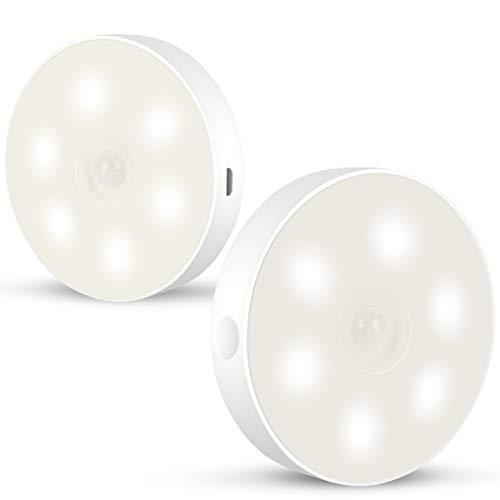 Luz de Noche[2 unidades],JUWARI Luz Nocturna con Sensor de Movimiento con Recargable USB 6 LED,Luz de Armario Inalámbrica LED para Armario Pasillo Escalera Sótano Cocina Garaje