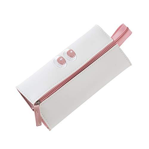 YOSCO ペンケース 筆箱 ペンポーチ かわいい おしゃれ 大容量 軽い 綺麗 メイクブラシケース プレゼント (ホワイト)