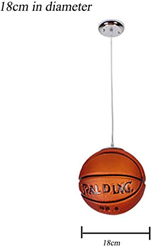 Glazen kroonluchter, creatieve persoonlijkheid Basketbal Voetbal Chandelier Bedroom Children's Room Gymnasium Decorative Glass Restaurant Plafondlamp, 18cmdiameter, Grootte: 18cmdiameter