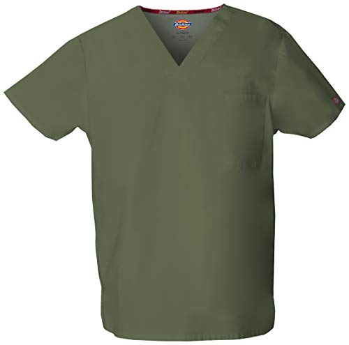 Dickies Men's Signature V-Neck Scrubs Shirt, Olive, Small