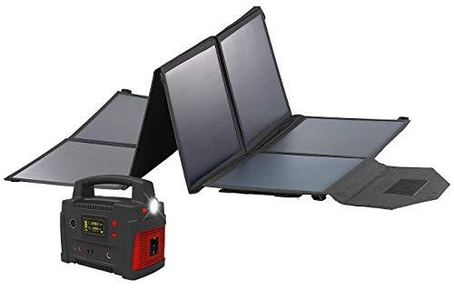 reVolt Solarzellen: Powerbank & Solar-Konverter mit faltbarem 100-Watt-Solarpanel, 114 Ah (Solar-Powerbank mit Steckdose)