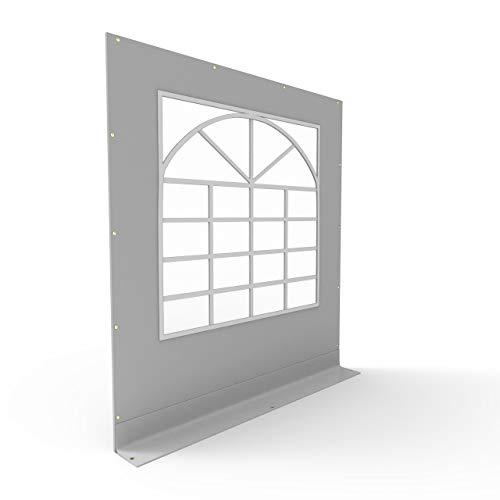 TOOLPORT PVC Seitenteil für Partyzelt Pavillon Gartenzelt 2x2m Seitenwand mit Fenster (eckig) grau