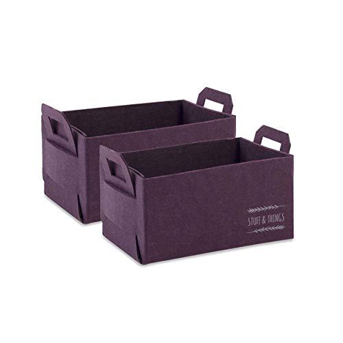 OCEANHOME - Juego de 2 cestas rectangulares plegables, color morado