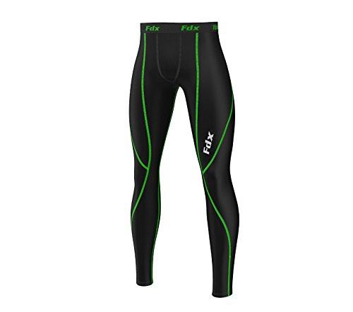 FDX Pantalon moulant type legging, pour hommes, idéal pour course à pied petit noir/vert