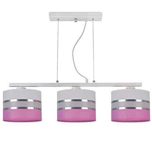 Hängelampe Kinderlampe Lampe für Kinderzimmer Jugendzimmer Stoff verschiedene Varianten Lampenschirme Serie 755-EZ3-K (Lampenschirme: Weiß, Gestell: Rechteck)