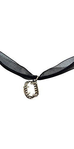 Colmillos negro cable y Organza collar con colgante en forma