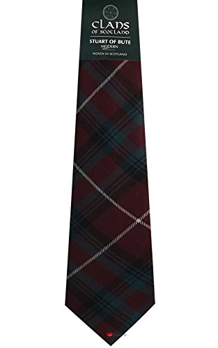 I Luv Ltd Stuart of Bute Clan 100% Wool Scottish Tartan Tie