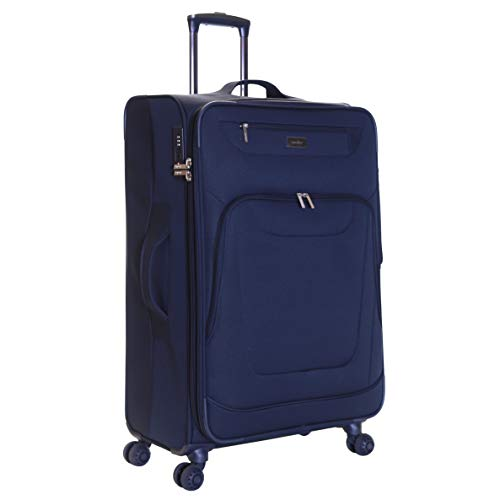 Karabar Extra Large Expandable Suitcase Luggage Bag Lightweight XL 78 cm 4.2 kg 105 litres Soft Shell with 4 Spinner Wheels and Integrated TSA Number Lock, Mayfair Navy
