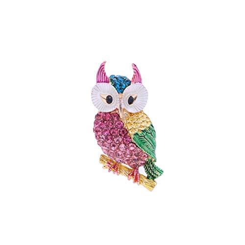Tendycoco Broche Uil Dieren Strass sjaal clip haarspeld sieraden accessoires voor vrouwen meisjes roze rood