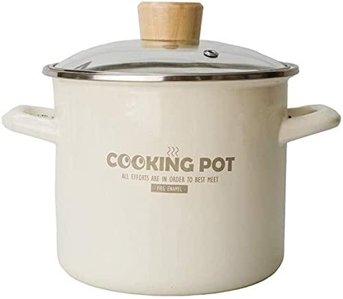 Olla para el hogar, Casserole Casserole espeso esmalte de sopa de esmalte de esmalte de acero inoxidable Embalaje de esmalte de acero inoxidable para inducción y gas, olla de valores profunda