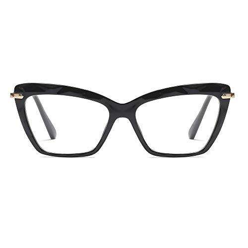 Womens Cat Eye Reading Glasses Fashion Crystal Eyewear Frame (Black, 2.5)