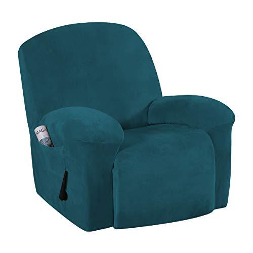 Funda de Terciopelo para sofá reclinable, Funda de Felpa, para sofá, sin Tirantes, Protector de Muebles, Funda de Licra Alta/Funda para salón (Verde Azulado Profundo, sillón reclinable)