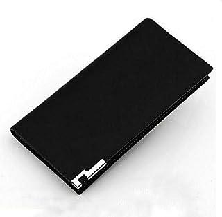 حقيبة يد بتصميم محفظة بفتحة طويلة من الجلد الطبيعي بتصميم كاجوال عملي للرجال بلون اسود QB0003