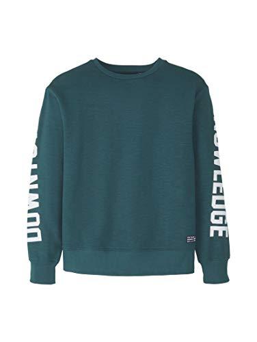 TOM TAILOR Jungen Strick & Sweatshirts Sweatshirt mit Schrift-Print deep Teal Green,176,K5289,7000