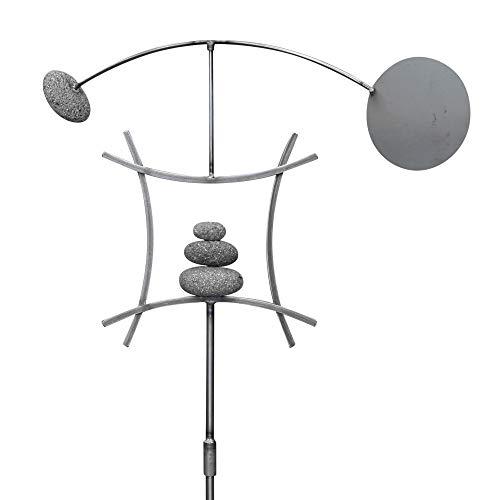 AURA LIFE Zen Garden Spinner Kinetic Wind Sculpture   Balanced Arch Yard Decor with Rock Cairn and Stake   Relaxing Metal Art Wind Vane Sculptures   Handmade (Bare Steel)