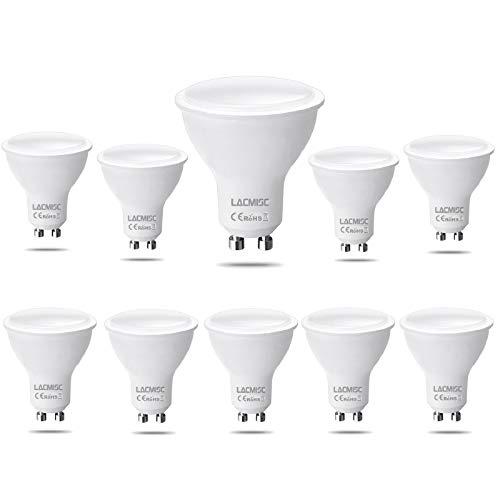 Lacmisc Bombilla LED, 6W GU10 Luz LED, Blanco cálido 3000K, 6W Equivalente a una lámpara halógena de 60W, AC 220V-240V, 450LM, No regulable Boxlood, 120 ° Ángulo de flujo luminoso