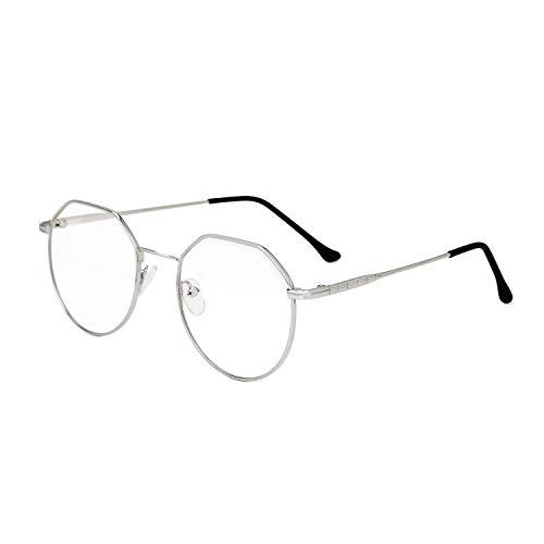 Brille Metallrahmen Blaulichtbrille Brillengestelle Pantobrille Computerbrille Fensterglas Nerdbrille Ohne Sehstärke Streberbrille Damen Herren Ebenenspiegel Brillefassung mit Nasenpad Leicht