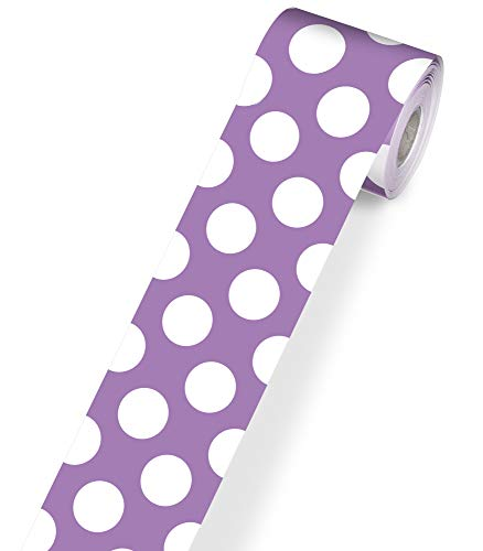 Schoolgirl Style Straight Polka Dot Bulletin Board Border—Rolled Purple and White Dotted Paper for Bulletin Boards, Homeschool or Classroom Decor (3' x 36')