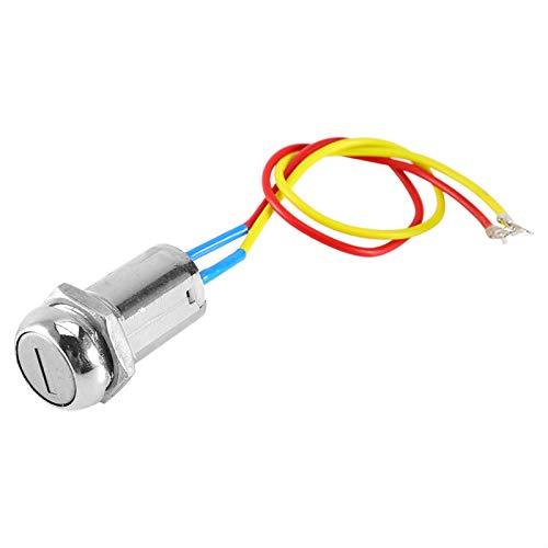Interruptor de encendido de motocicleta, interruptor de arranque de encendido confiable de 2 cables 6.5x4.5cm con llave para scooter eléctrico para automóvil