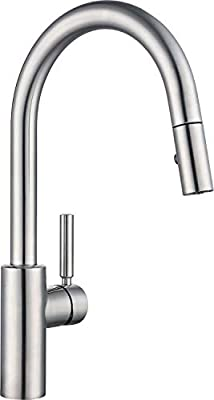 Luca Kitchen Sink Faucet with Pull Down Sprayer, Modern Single Handle Bar Faucet, Single or 3 holes install with Deck Plate, Spot Resist Stainless Steel Brushed Nickel ZPNAKF1BN