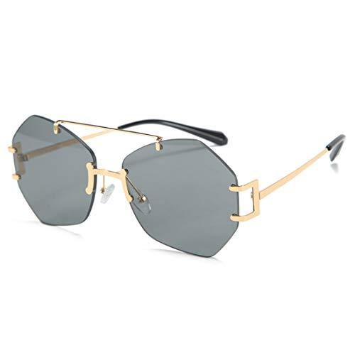 HFSKJ Gafas de Sol, Gafas de Sol sin Montura Irregulares, Gafas de Todo fósforo para Mujer, Gafas de Sol de Moda callejera para Adultos,A