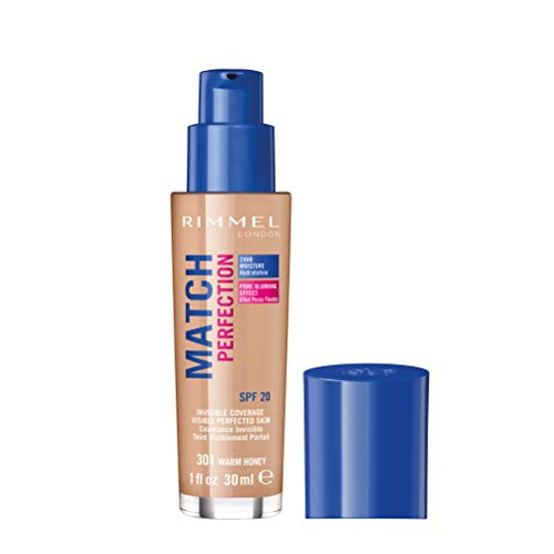 Rimmel - Fond de Teint Match Perfection - Couvrance légère - Hydratation 24h - 301 Warm Honey - 30ml