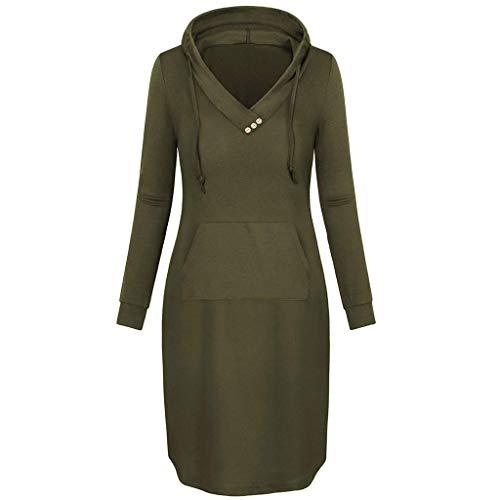 Routinfly Vestido largo para mujer, minivestido informal, vestido de verano, vestido para mujer, vestido informal, vestido de playa, con capucha sólida, botones, cordón y bolsillos.
