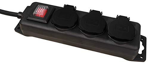 MC POWER - Garten-Steckdosenleiste | 3-fach mit Schalter, IP44 für Außen geeignet