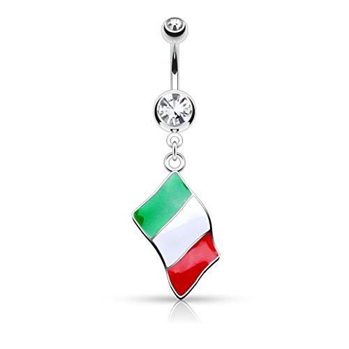 PunkJewelry Piercing de Ombligo Barra Banderas de Paises 316L Acero Quirúrgico - Italia