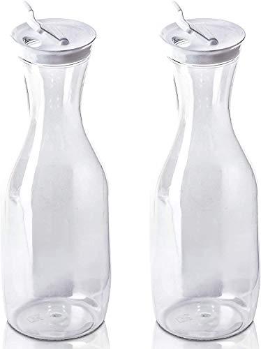 DecorRack jarra de agua grande con tapa abatible, 50 oz cada una, sin BPA, jarra de zumo de plástico, decoración, jarra, servir té helado, agua, perfecta para exteriores, playa, picnic, fiestas