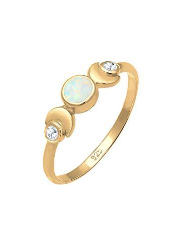 Elli Ring Damen Halbmond im Astro Vintage Design mit Opal und Zirkonia aus 925 Sterling Silber