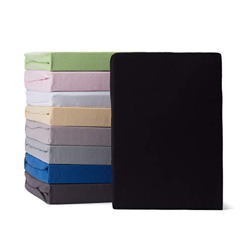 Lumaland Comfort Jersey Spannbettlaken 100% Baumwolle mit Rundum-Gummizug 160g/m² 140 x 200 cm - 160 x 200 cm Schwarz