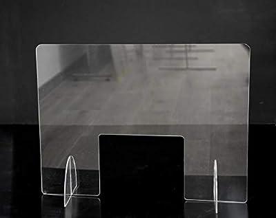 Mampara de protección transparente ideal para esteticas por su ventana grande Tamaño mampara 80x60cm. Fabricada en metacrilato de 5mm Medida agujero central: 33x25 cm Protección para al personal de cara al público, de fácil instalación y limpieza Tam...