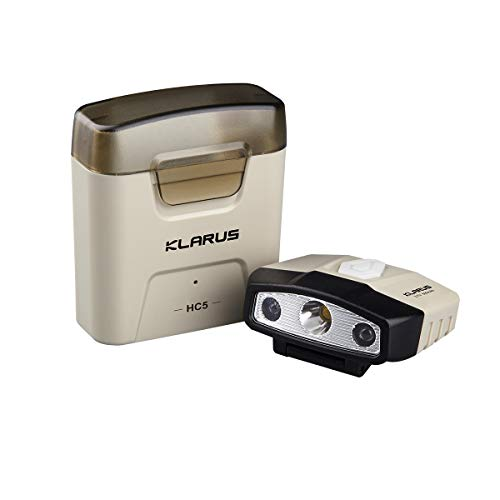 KLARUS HC5 Mini linterna LED para Gorras y sombreros 120 lumens IP5 - Alcance 37m Mini linterna para gorras y cascos con caja Powerbank para cargarlo wireless