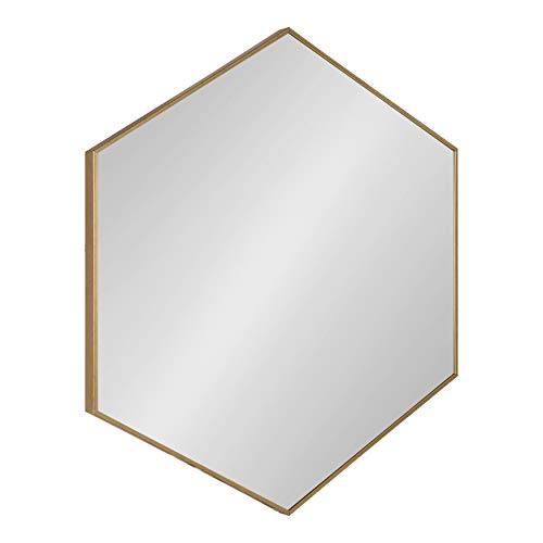 Kate and Laurel Rhodes 6-Sided Hexagon Wall Mirror, 30.75x34.75 Gold