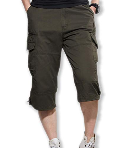 [モルクス] パンツ ズボン カーゴ コットン ハーフ 七分丈 ポケット カジュアル (カーキ、ブラック、グレー、グリーン) M~XXXL メンズ
