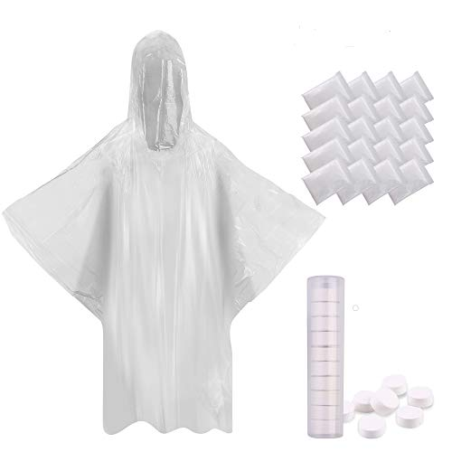Emergency Poncho 20 Packs - Bulk Rain Ponchos for Adults 20 Clear Disposable Poncho Adult Size W/10 Compressed Towels Best Emergency Gear for Disney Theme Park, Outdoor Festivals, Hiking, Travel
