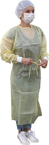 Medi-Inn Schutzkittel zum Binden | PE-teilbeschichteter Einmalkittel | 139 x 139 cm gelb | 10 Stück