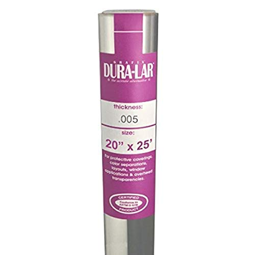 """Grafix Dura-Lar .005"""" Ultra-Clear Film, Acetate Alternative, Glossy Surface for Coverings, Stencils, Color Separation, Window Applications, Transparencies, and More, 20"""" x 25'"""