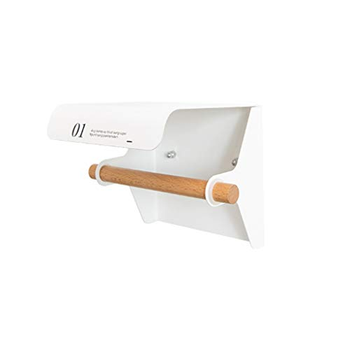 kiter Portarrollos Baño Papel Higiénico sostenedor del Metal a Prueba de Agua baño Accesorios de Cocina montado en la Pared del Rodillo de tocador Toalla Shelf portarrollos para Papel (Color : White)
