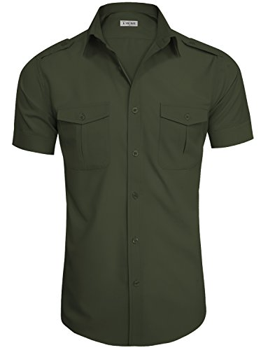 TAM WARE Mens Casual Plain Short Sleeve Button Down Shirts TWCMS19A-S20-ARMY-US S