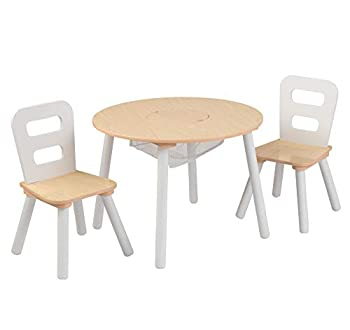 KidKraft Wooden Round Table & 2 Chair Set with Center Mesh Storage - Natural & White Gift for Ages 3-6