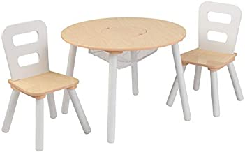 KidKraft Wooden Round Table & 2 Chair Set with Center Mesh Storage - Natural & White, Gift for Ages 3-6