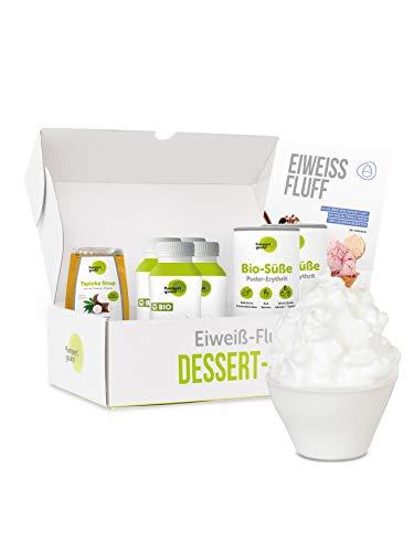 Pumperlgsund Eiweiß Fluff | Fluff Box für 24 Fluffs | Low Carb | Enthält flüssiges Eiweiß (Eiklar), BIO Erythrit, Tapioka Sirup | Egg White gegen Heißhunger