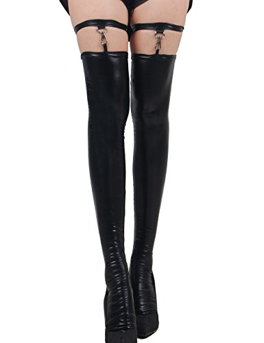 Sexy Black PVC Wet Look Stockings Hold Ups Gothic Goth Size M 8 10 12 14 16