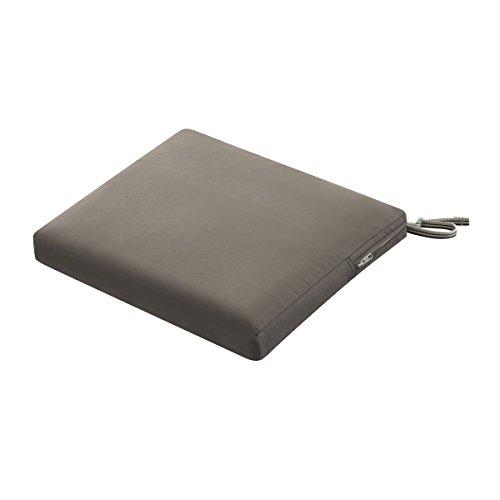 Classic Accessories Ravenna Rectangular Patio Seat Cushion Slip Cover & Foam - Durable Outdoor Cushion, Dark Taupe, 17'W x 15'D x 2'Thick