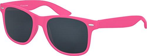 Balinco Hochwertige Nerd Sonnenbrille Rubber im Retro Stil Vintage Unisex Brille mit Federscharnier - 96 verschiedene Farben/Modelle wählbar (Pink - Smoke)