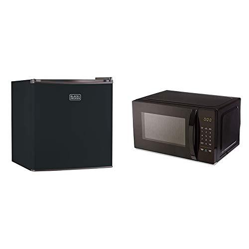 BLACK+DECKER BCRK17B Compact Refrigerator Energy Star Single Door Mini Fridge with Freezer, 1.7 Cubic Feet, Black & AmazonBasics Microwave, Small, 0.7 Cu. Ft, 700W, Works with Alexa